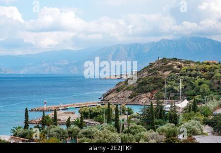 Mirabello Beach, Crete, Greece - 21 October, 2020. View on mirabello coastline and Mirabello marina.