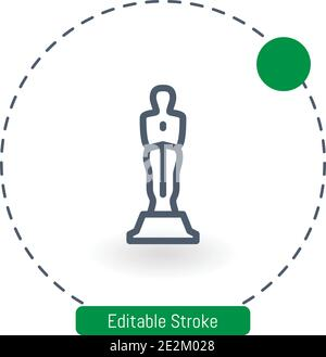 oscar vector icon editable stroke outline icons for web and mobile - Stock Photo