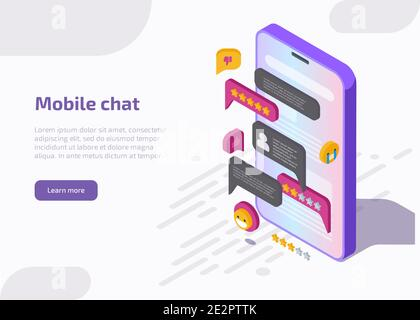 Mobile chat application interface on smartphone screen with message, emoji, speech bubbles in dialog. Design of messenger app. Vector landing page with isometric illustration of online conversation.