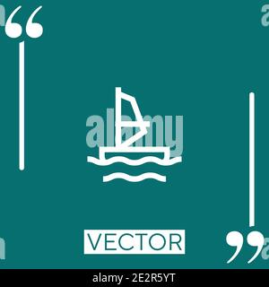 windsurf vector icon Linear icon. Editable stroked line