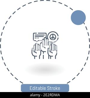 civil right movement vector icon editable stroke outline icons for web and mobile - Stock Photo