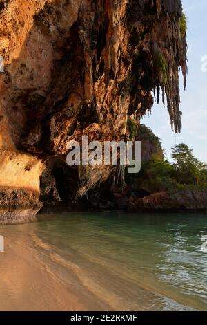 The Sheer Limestone cliffs on Phra Nang Beach, Krabi, Thailand
