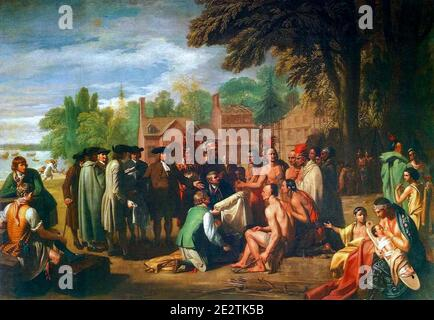 Penn's Treaty with the Indians, painting by Benjamin West, 1771-1772 Stock Photo