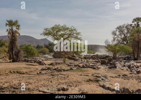 Landscape on the banks of the Kunene River, the border river between Namibia and Angola
