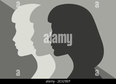 Three Women in Silhouette. Side view. Colorless vector illustration - Stock Photo
