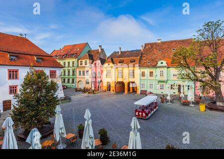 Sighisoara, Romania. Main square of the medieval town, Transylvania.