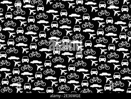 Seamless transportation pattern wallpaper in black color background