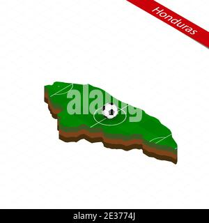 Isometric map of Honduras with soccer field. Football ball in center of football pitch. Vector soccer illustration. - Stock Photo