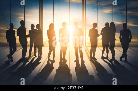 Double exposure image of many business people conference group meeting on city office building in background showing partnership success of business