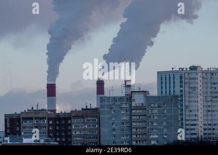 January 17, 2021. Moscow, Russia. Heating of houses