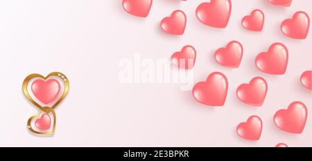 Happy Valentines Day. Flying gel pink balloons. Horizontal banner with place for text. For happy birthday, International Women s Day. Vector illustrat - Stock Photo