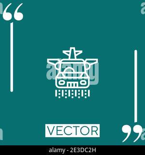 flying car vector icon Linear icon. Editable stroke line