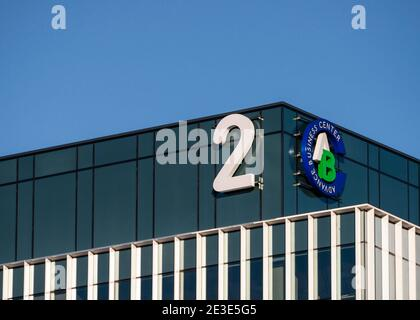 Advance Business Center or Centre sign signage logo on new modern office building by GTC Group at the Sofia Business Park in Sofia Bulgaria Europe EU