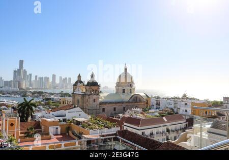 View of the Old Town, historic city center in Cartagena, Colombia