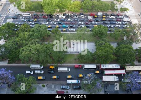 Traffic on the sreets of a big city in rush hour. Downtown of Buenos Aires city. Stock Photo