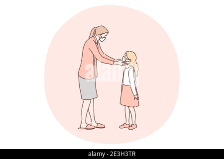 Wearing medical masks as protection from coronavirus infection concept. Young woman mother putting on medical protective mask on her small daughters f