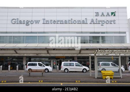 Bus and taxi pick up point at Glasgow International Airport, Scotland, UK