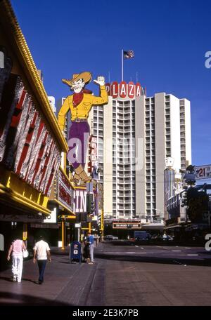 Iconic cowboy sign on Fremont Street in Downtown Las Vegas, NV.