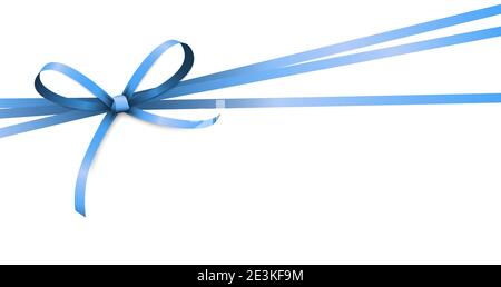 EPS 10 vector illustration of blue colored ribbon bow isolated on white background