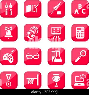 Black School Vector Icon Set for web and mobile. All elements are grouped. Stock Photo