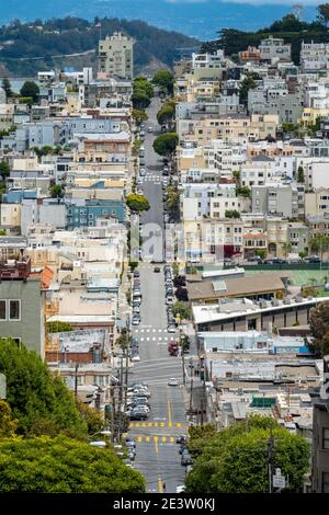 View looking down Lombard Street, San Francisco, California, USA.