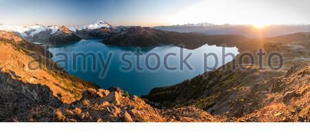 View over Garibaldi Lake from Panorama Ridge during sunset in autumn, Canada