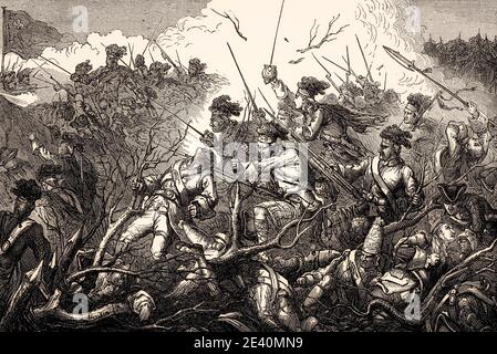 Battle of Carillon, the 1758 Battle of Ticonderoga, on July 8, 1758, French and Indian War, From British Battles on Land and Sea, by James Grant - Stock Photo