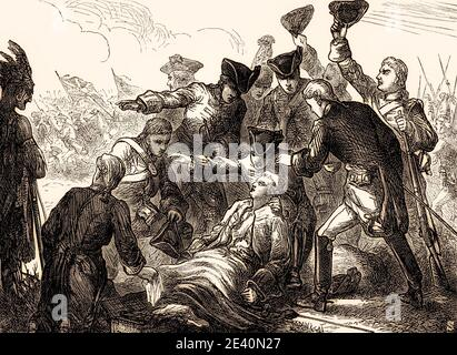The Death of General Wolfe, Battle of the Plains of Abraham, Battle of Quebec, 1759, Seven Years' War, From British Battles on Land and Sea, by James Grant - Stock Photo