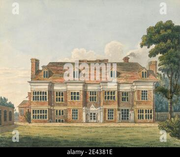 Charles Tomkins, 1757–1823, British, Ealing House, Middlesex, undated. Pen and brown and black ink and watercolor over graphite on medium, smooth, white wove paper.   architectural subject , exterior view , house. Ealing , England , Europe , Middlesex , United Kingdom - Stock Photo