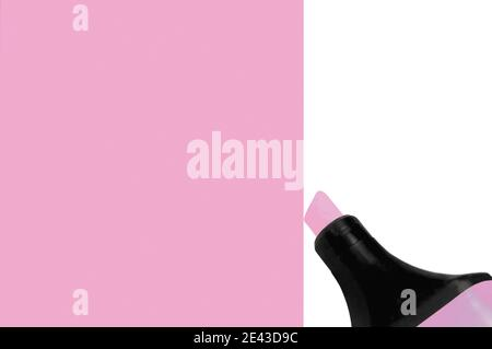 Bright electric fluorescent neon pink felt tip pen marker painting large horizontal background, isolated vertical copy space macro closeup