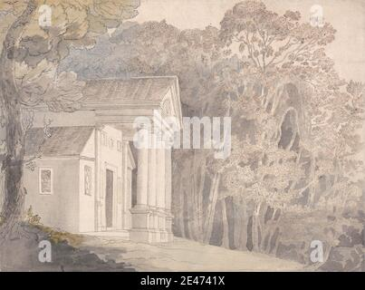 attributed to Francis Towne, 1740–1816, British, Werrington Park, Devonshire, undated. Watercolor and black and brown ink over graphite on medium slightly textured cream laid paper.   building , columns , landscape , trees. Devon , Devonshire - Stock Photo
