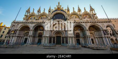 Venice during Corona times without tourists, San Marco facade