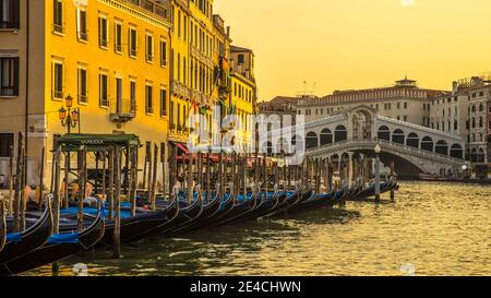 Venice during Corona times without tourists, view of the Rialto Bridge