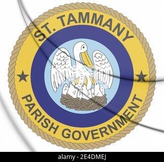 3D Seal of St Tammany Parish (Louisiana), USA. 3D Illustration. - Stock Photo