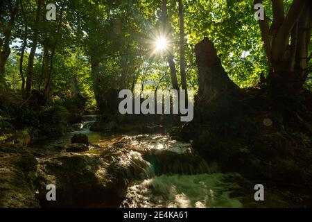 Waterfall amidst rocks on sunny day in forest, ,Swabian Alb, Germany - Stock Photo