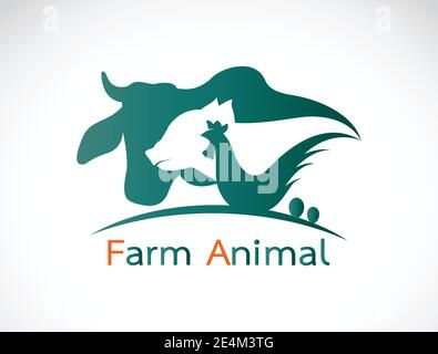 Vector group of animal farm label - cow,pig,chicken,egg. Easy editable layered vector illustration. - Stock Photo