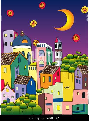 Multycolor summer street in magic town at moon night. Trees, towers, young moon and the bright light galaxies in the sky. Vector drawing. - Stock Photo