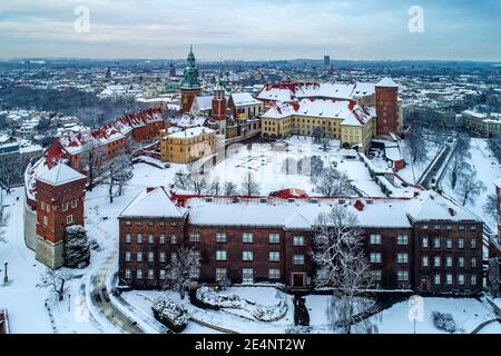 Historic royal Wawel Castle and Cathedral in Krakow, Poland,  covered with snow in winter