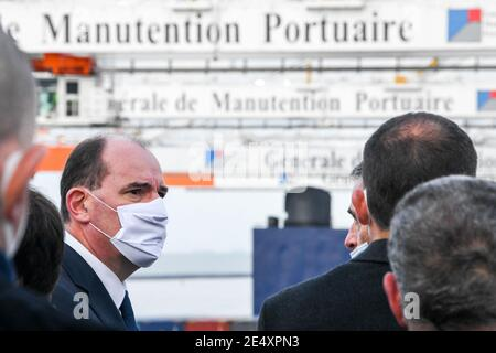 French Prime Minister Jean Castex visits the container ship 'Jacques Saade' owned by the CMA CGM at the port of Le Havre, France, on January 22, 2021 as part of a governmental visit in the city focused on sea and maritime transport issues. Photo by Tesson/ANDBZ/ABACAPRESS.COM