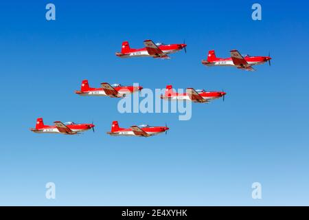 Malaga, Spain – July 28, 2018: Patrouille Suisse Swiss Army Pilatus PC-7 airplanes at Malaga airport (AGP) in Spain. - Stock Photo