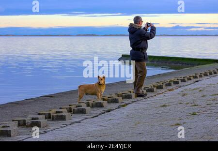 A man takes a photo by the North Sea. His dog is looking in a different direction. Everyone can enjoy the sea in their own way. Stock Photo