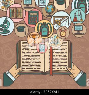 Person with book in hands and school education colored sketch icons set vector illustration - Stock Photo