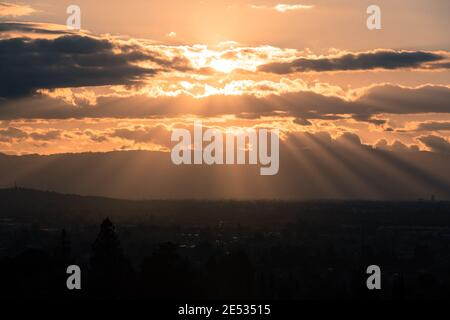 Sun Rays over San Jose in Stormy Skies