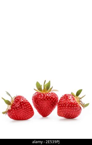 Red strawberry on a white background with clipping path.