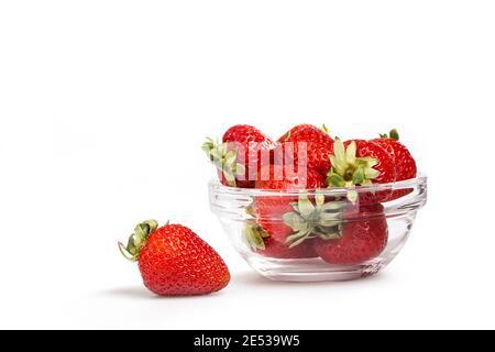 Fresh organic strawberry isolated on white background. Strawberry macro.
