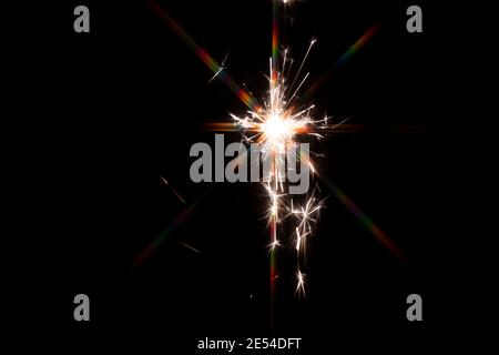 firework sparkle exposed texture in celebrating night on black background
