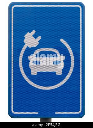 Blue sign in a parking lot to indicate that it is only for charging electric cars. Isolated on white - Stock Photo