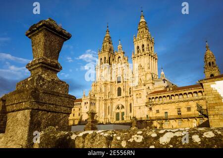 Santiago de Compostela, A Coruña province, Galicia, Spain - February 12th, 2020 : Baroque facade of the cathedral in the Obradoiro square. The Cathedr