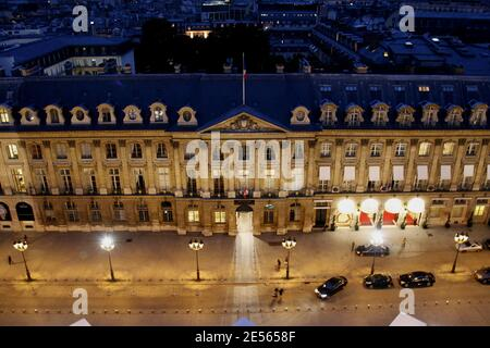 File photo : Ministery of Justice and the Ritz Palace seen by the height of the column Vendome in Paris, France, on July 4th, 2008. A fire has engulfed the top floor of the Ritz hotel in Paris, on January 19, 2016, which is currently undergoing major refurbishment work. The fire broke out at around 7am in the top floor of the five-star hotel which stands on Place Vendome, one of the city's plushest squares. According to initial reports from BFM TV, the fire broke out on the seventh floor of the hotel before quickly spreading to the roof. Some reports say most of the roof has been destroyed. It