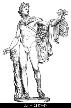 Apollo of the Belvedere. Illustration of the 19th century. Germany. White background. - Stock Photo